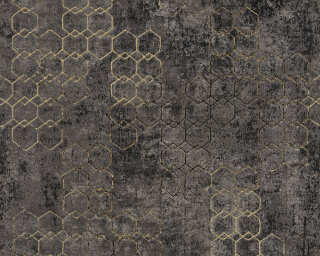 Livingwalls Tapete «Grafik, Gold, Metallics, Schwarz» 374246