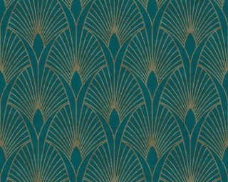 Livingwalls Wallpaper «Baroque, Blue, Gold, Green, Metallic» 374275