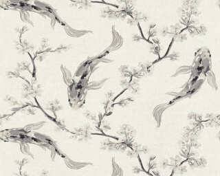 A.S. Création Wallpaper «Floral, Beige, Black, Cream, Grey» 374622