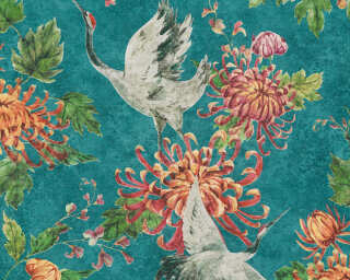 A.S. Création Wallpaper «Floral, Blue, Green, Grey, Orange» 374641