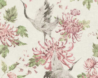 A.S. Création papier peint «Floral, blanc, gris, rose, vert» 374642