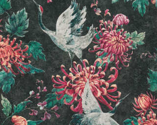A.S. Création papier peint «Floral, gris, noir, rouge, vert» 374643