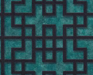 A.S. Création papier peint «Graphique, 3D, bleu, noir, turquoise, vert» 374651