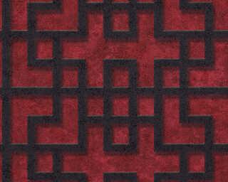A.S. Création papier peint «Graphique, 3D, noir, rouge» 374652