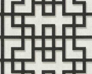 A.S. Création papier peint «Graphique, 3D, blanc, gris, noir» 374653