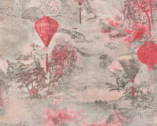 A.S. Création Wallpaper «Floral, Black, Grey, Pink, Red» 374662
