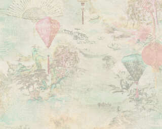 A.S. Création Wallpaper «Floral, Beige, Cream, Green, Pink» 374663