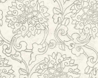 A.S. Création Wallpaper «Floral, Cream, Grey, Metallic, Silver» 374702