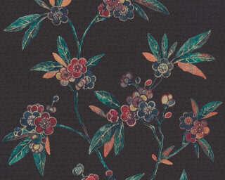A.S. Création papier peint «Graphique, Floral, beige, bleu, jaune, noir» 374721