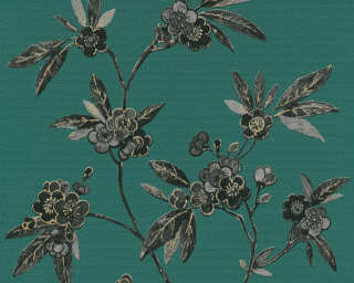 A.S. Création Wallpaper «Graphics, Floral, Black, Gold, Green, Grey» 374722
