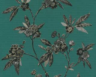 A.S. Création papier peint «Graphique, Floral, gris, noir, or, taupe» 374722