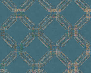 A.S. Création papier peint «Graphique, bleu, métallique, or» 374773
