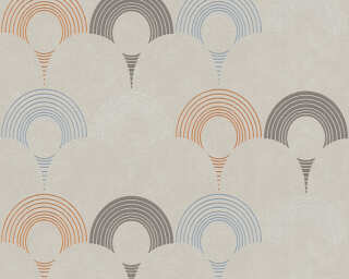 A.S. Création Wallpaper «Graphics, Beige, Brown, Grey, Orange» 374803