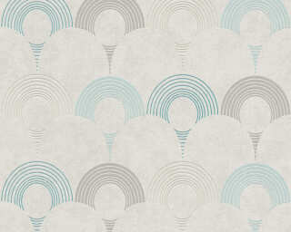 A.S. Création Wallpaper «Graphics, Beige, Blue, Green, Grey» 374804