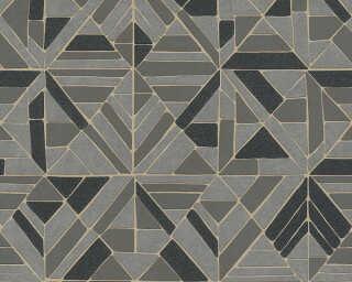 A.S. Création papier peint «Graphique, gris, marron, noir, or» 374814