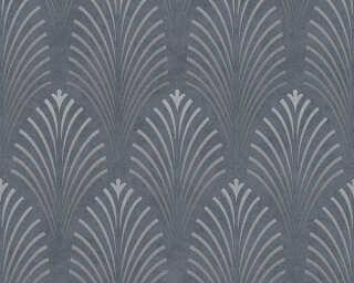 A.S. Création papier peint «Graphique, argent, gris, métallique, noir» 374822