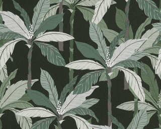 Private Walls Wallpaper «Floral, Black, Green» 375303