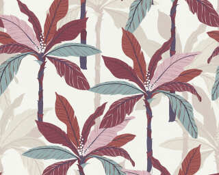 Private Walls Tapete «Floral, Beige, Creme, Rot» 375304