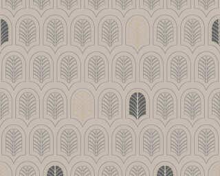 A.S. Création papier peint «Graphique, beige, métallique, noir» 376832
