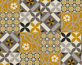 A.S. Création papier peint «Graphique, gris, jaune, noir» 376841