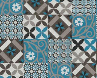 A.S. Création papier peint «Graphique, bleu, gris, noir» 376842