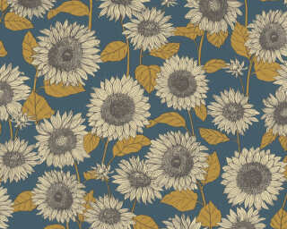 A.S. Création Tapete «Floral, Blau, Gelb, Metallics» 376853
