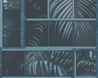Livingwalls Tapete «Floral, Blau, Schwarz» 377404