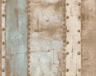 Livingwalls papier peint «Rayures, beige, bleu, marron» 377431