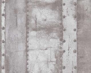 Livingwalls Tapete «Streifen, Grau, Metallics, Weiß» 377432
