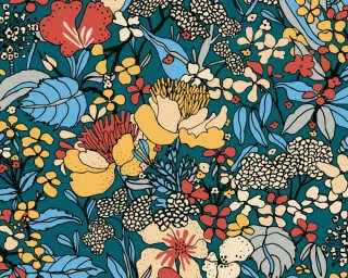 Architects Paper Tapete «Floral, Blau, Bunt, Gelb» 377564