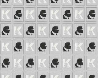Karl Lagerfeld papier peint «Graphique, blanc, métallique, noir» 378424