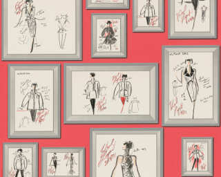 Karl Lagerfeld Wallpaper «Graphics, Grey, Metallic, Red» 378462