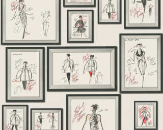 Karl Lagerfeld Wallpaper «Graphics, Grey, Red, White» 378463