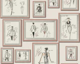 Karl Lagerfeld Wallpaper «Graphics, Grey, Pink, White» 378464