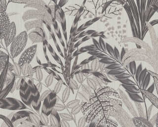 Livingwalls Wallpaper «Floral, Grey, White» 378604
