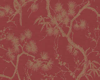 Livingwalls Tapete «Floral, Metallics, Rot» 378671
