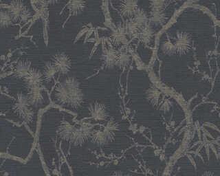 Livingwalls Wallpaper «Floral, Black, Grey, Metallic» 378672