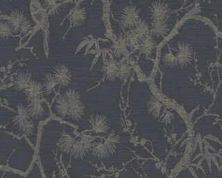 Livingwalls Tapete «Floral, Grau, Metallics, Schwarz» 378672