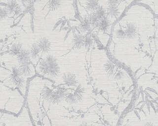 Livingwalls Wallpaper «Floral, Grey, Metallic, White» 378673