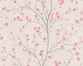 Livingwalls Tapete «Floral, Braun, Rosa, Weiß» 379121