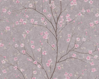 Livingwalls Tapete «Floral, Grau, Rosa» 379122