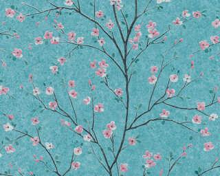 Livingwalls Tapete «Floral, Blau, Grün, Rosa» 379123