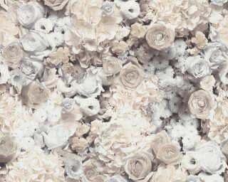 A.S. Création Wallpaper «Floral, Black, Grey, White» 380083