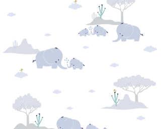Livingwalls non-woven wallpaper «Child motif, Blue, Grey, White» 381281
