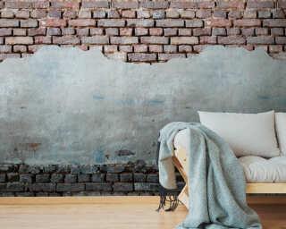 Livingwalls Vliestapete «Stein, Braun, Grau, Rot» 383341