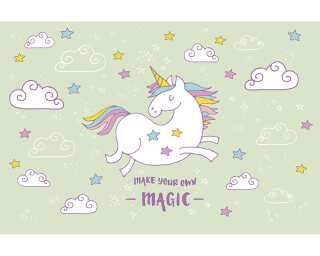 Livingwalls Fototapete «Unicorn Magic Grey» 470937