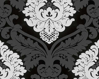 Livingwalls Wallpaper «Baroque, Floral, Black, White» 554314