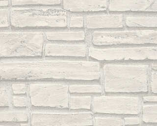 A.S. Création Wallpaper «Stone, Cottage, Grey, White» 662316