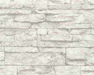 A.S. Création Wallpaper «Stone, Cottage, Grey, White» 707161