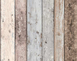 A.S. Création Wallpaper «Wood, Cottage, Beige, Blue, Brown» 855039